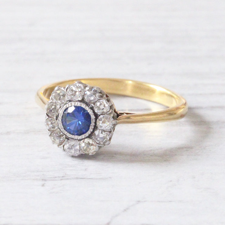 Victorian Sapphire and Diamond Round Cluster Ring