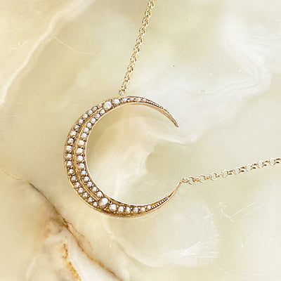 Victorian Pearl Crescent Moon Necklace