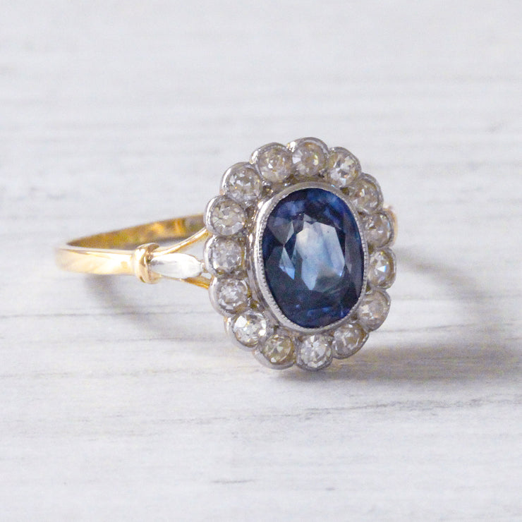 Edwardian Sapphire and Diamond Oval Cluster Ring