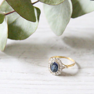 RESERVED Edwardian Sapphire and Diamond Oval Cluster Ring