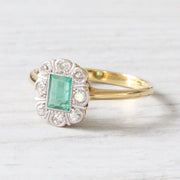 Edwardian Emerald and Diamond Cluster Ring