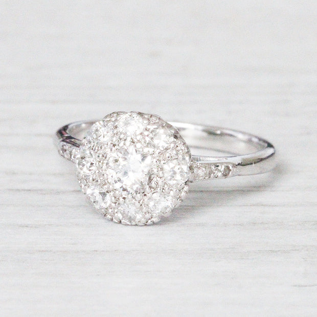 Art Deco Round Diamond Cluster Ring