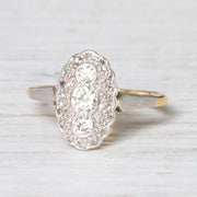 Art Deco Oval Diamond Panel Cluster Ring