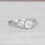 Art Deco 0.70 Carat Old European Cut Diamond Twist Solitaire