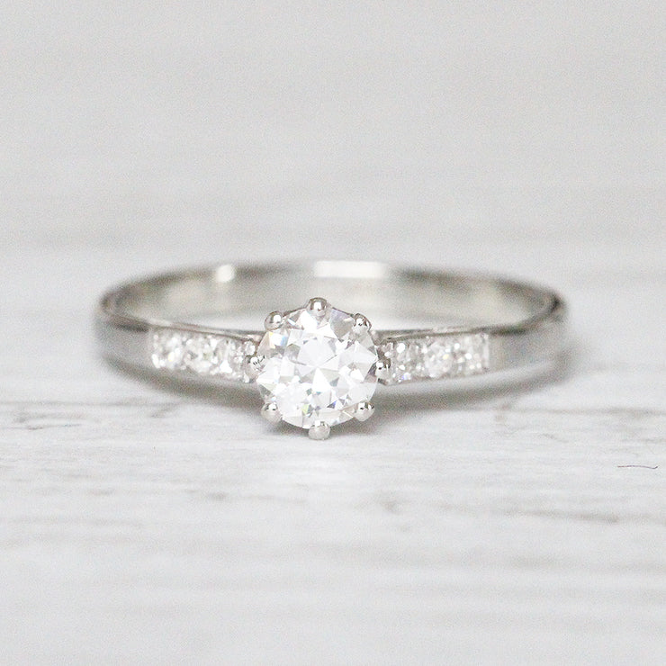 Art Deco 0.35 Carat Transitional Cut Diamond Solitaire