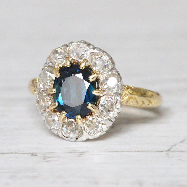 Victorian 1.80 Carat Sapphire and Old Mine Cut Diamond Cluster