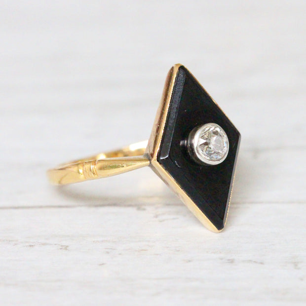 Art Deco Onyx and 0.25 Carat Old Mine Cut Diamond Panel Ring
