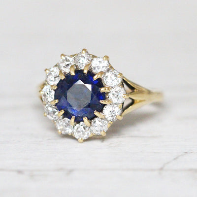 Victorian 1.50 Carat Sapphire and Old Cut Diamond Round Cluster