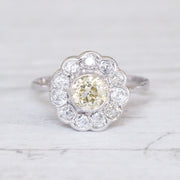 Art Deco 1.62 Carat Lemon Old Cut Diamond Daisy Cluster Ring