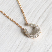 Victorian Old Mine Cut Diamond Horseshoe Necklace