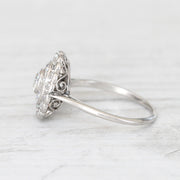 Art Deco 1.08 Carat Old European Cut Diamond Double Halo Ring