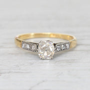 Art Deco 0.45 Carat Old Mine Cut Diamond Solitaire
