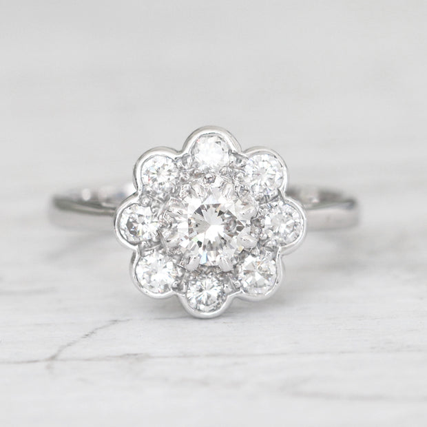 Vintage 0.78 Carat Brilliant Cut Diamond Daisy Cluster Ring