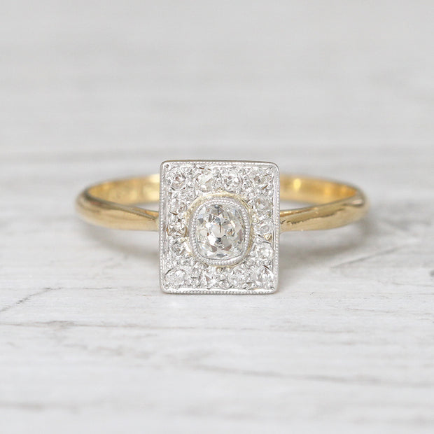 Edwardian 0.40 Carat Old Mine Cut Diamond Square Cluster