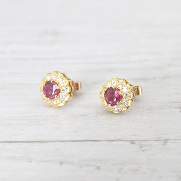 Vintage Ruby and Diamond Stud Earrings