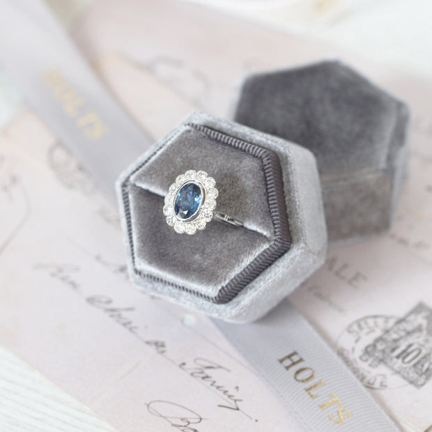 Art Deco 1.35 Carat Verneuil Sapphire and Old Cut Diamond Cluster