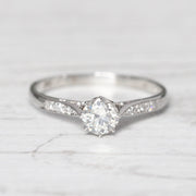 RESERVED - Art Deco 0.60 Carat Transitional Cut Diamond Solitaire