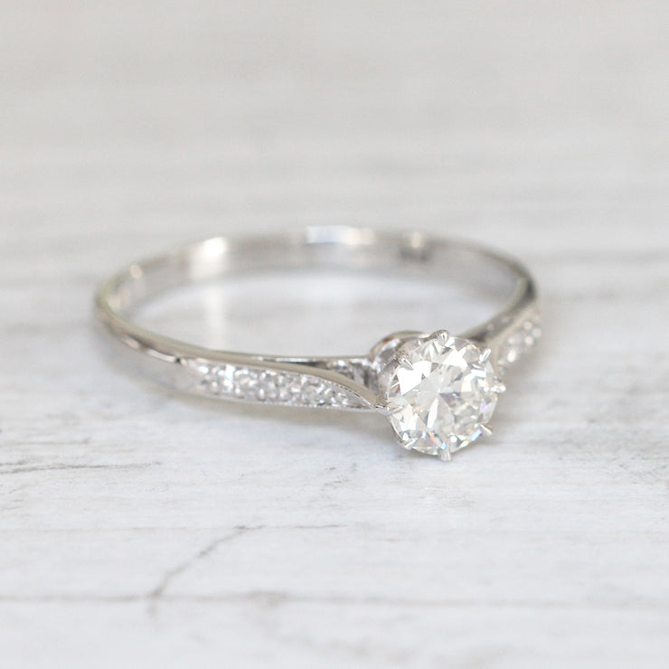 Art Deco 0.60 Carat Transitional Cut Diamond Solitaire