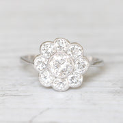 Art Deco 1.24 Carat Old Cut Diamond Daisy Cluster Ring