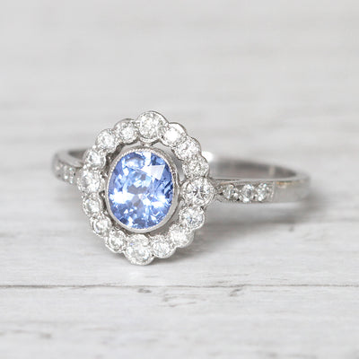 Art Deco Style 1.05 Carat Cornflower Blue Sapphire and Diamond Cluster