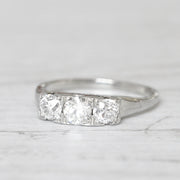 Art Deco 0.90 Carat Old European Cut Diamond Three Stone
