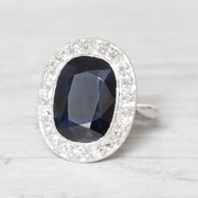 French Art Deco 6 Carat Sapphire and Diamond Cluster Ring