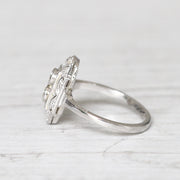 Art Deco Style 0.34 Carat Transitional Cut Diamond Panel Cluster Ring