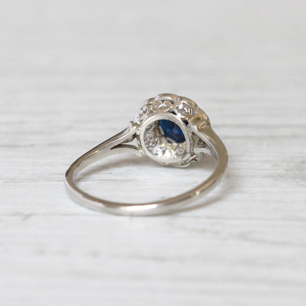 Antique 0.85 Carat Sapphire and Old Cut Diamond Cluster