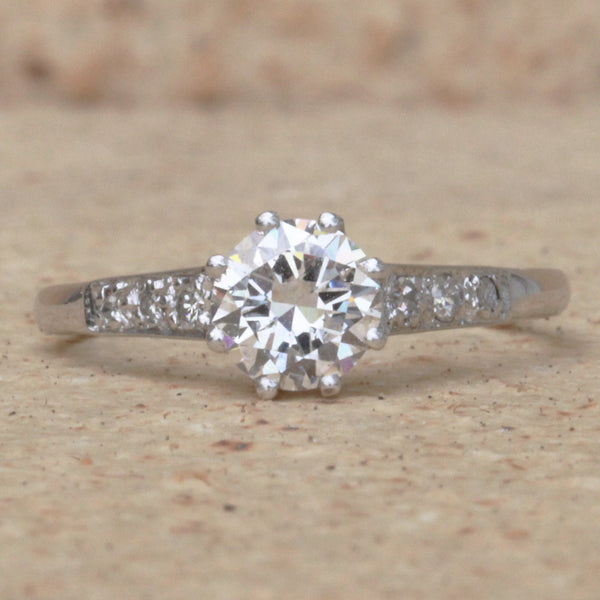 Vintage 0.75 Carat Transitional Cut Diamond Solitaire