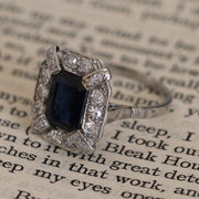 French Art Deco 1.20 Carat Sapphire and Diamond Cluster