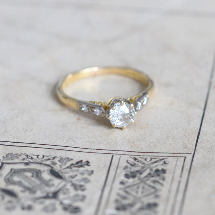Art Deco 0.50 Carat Old European Cut Diamond Solitaire