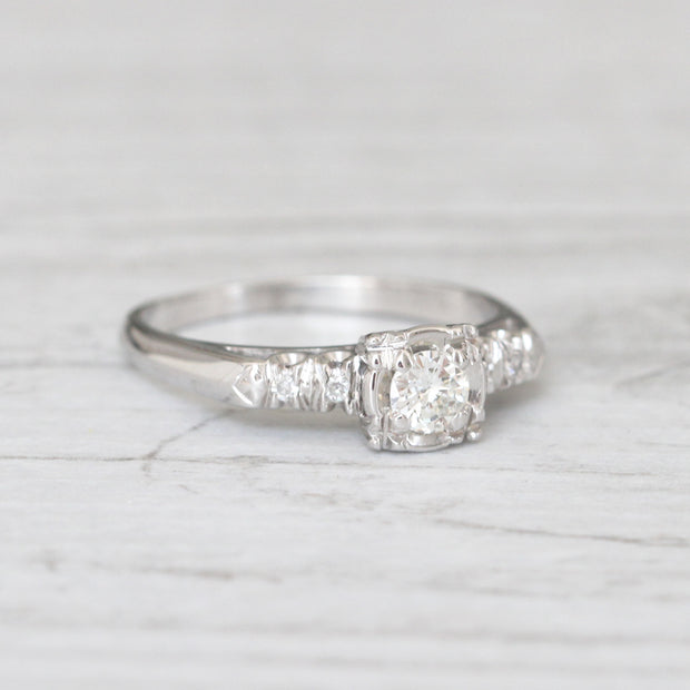 Art Deco 0.22 Carat Transitional Cut Diamond Solitaire