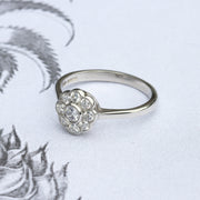 Art Deco Style Old Cut Diamond Cluster Ring