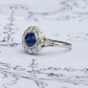 Art Deco Sapphire and Old Cut Diamond Cluster Ring