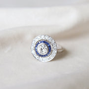 French Art Deco Old European Cut Diamond and Sapphire Target Cluster