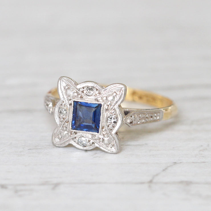 Art Deco Square Sapphire and Diamond Cluster Ring