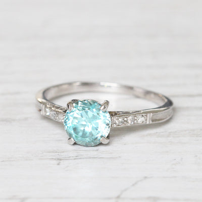 Art Deco 1.25 Carat Old Cut Blue Zircon and Diamond Solitaire