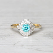 Art Deco 0.65 Carat Blue Zircon and Diamond Cluster