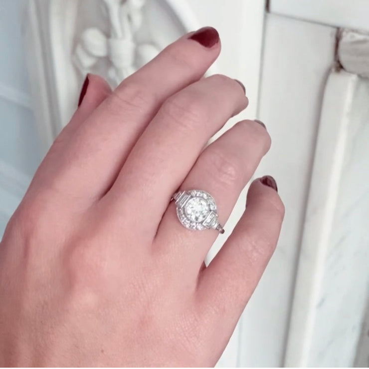 Art Deco Style 1.36 Carat Old European Cut Diamond Halo Cluster Ring