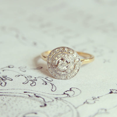 Edwardian Old Cut Diamond Double Halo Ring