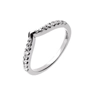 Wishbone V Shape Diamond Wedding Band