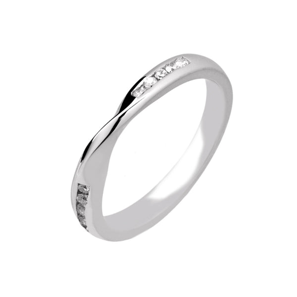 Ribbon Twist Bow Shape Diamond Wedding Band