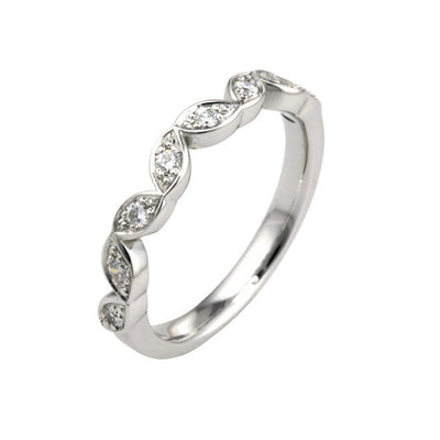Vintage Style Shaped Diamond Set Wedding Band
