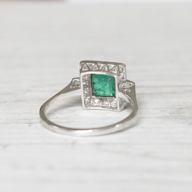 Art Deco Style 0.80 Carat Emerald and Diamond Square Cluster