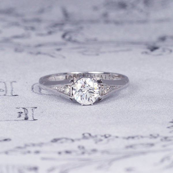 Vintage 0.55 Carat Transitional Cut Diamond Solitaire