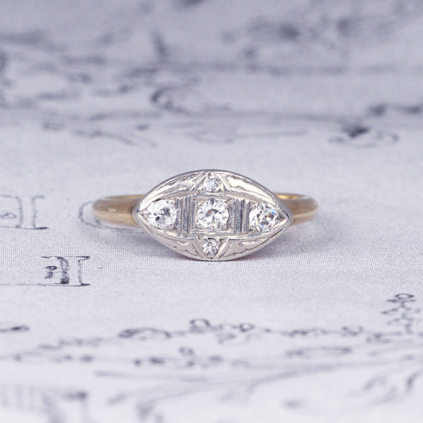 Edwardian Old Cut Diamond Marquise Panel Cluster Ring