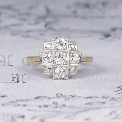 RESERVED Art Deco Style Old Cut Diamond Cluster Ring