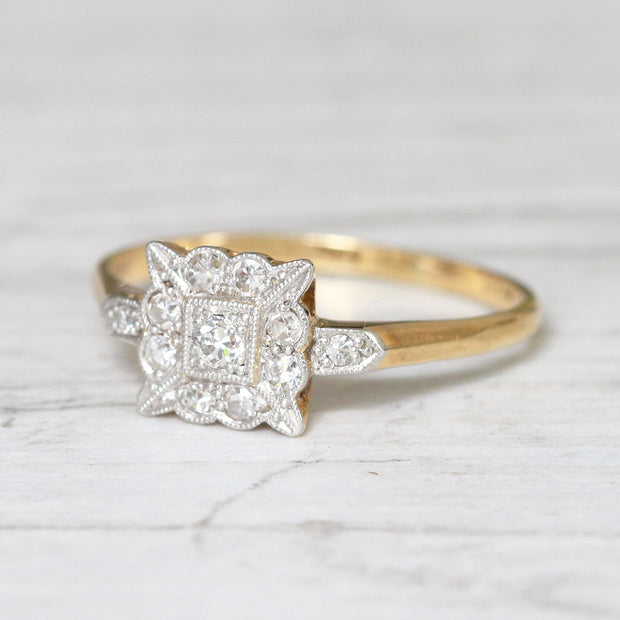 Edwardian 0.19 Carat Diamond Square Cluster Ring