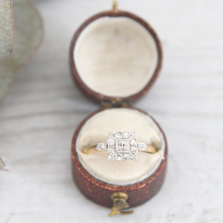 RESERVED - Edwardian 0.19 Carat Diamond Square Cluster Ring