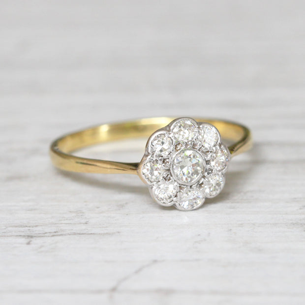 Edwardian 0.42 Carat Old Cut Diamond Daisy Cluster Ring